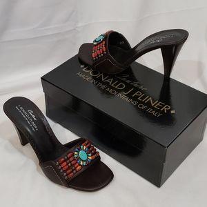 NIB Couture Donald J. Pliner Beaded Mules 8.5